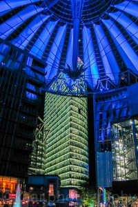 Sony Center and BahnTower at Night