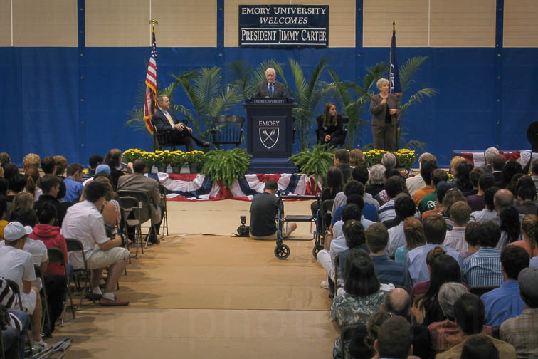 Jimmy Carter addresses Emory students at the Athletic Center