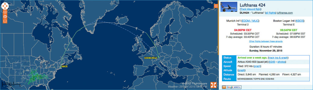LH424 Route (Screenshot from FlightAware)